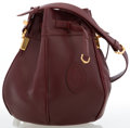 Luxury Accessories:Bags, Cartier Burgundy Leather Small Bucket Bag with Gold Hardware . ...