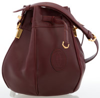 Cartier Burgundy Leather Small Bucket Bag with Gold Hardware