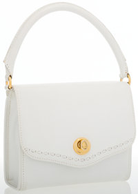 Trussardi White Leather Top Handle Bag