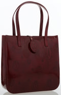 Luxury Accessories:Bags, Cartier Burgundy Patent Leather Small Tote Bag . ...