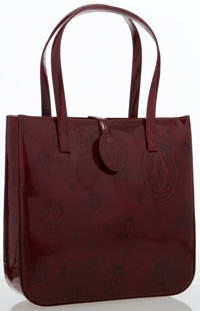 Cartier Burgundy Patent Leather Small Tote Bag