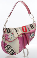 Luxury Accessories:Bags, Christian Dior Pink & White Canvas Saddle Bag. ...