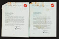 Autographs:Letters, 1960 Hank Greenberg Signed Typed Letters To Charles Comiskey II Lotof 2....