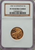 Modern Issues: , 1987-W G$5 Constitution Gold Five Dollar PR70 Ultra Cameo NGC. NGC Census: (8241). PCGS Population (1874). Mintage: 651,659...