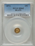 California Fractional Gold: , 1874 25C Indian Round 25 Cents, BG-876, Low R.4, MS62 PCGS. PCGSPopulation (14/77). NGC Census: (3/9). ...