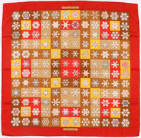 "Hermes 90cm Red & Brown ""Feux de l'Hiver,"" by Christiane Vauzelles Cashmere and Silk Scarf"
