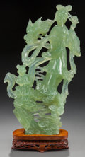 Asian:Chinese, A CHINESE CARVED PALE GREEN FLUORITE FIGURAL GROUP ON STAND. 14-1/2 inches high (36.8 cm). From a Dallas Estate. ... (Total: 2 Items)