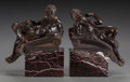 Decorative Arts, Continental:Other , A PAIR OF BRONZE BOOKENDS ON MARBLE BASES, late 19th century. 7-1/4x 6 x 3 inches (18.4 x 15.2 x 7.6 cm). From a Dallas E... (Total: 2Items)