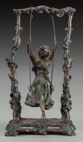 Bronze:European, A PATINATED BRONZE SCULPTURE AFTER MOREAU: GIRL ON A SWING, Paris,France, circa 1900. Marks: Moreau. 10 inches high (25...