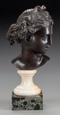 Paintings, AN ITALIAN BRONZE BUST ON MARBLE SOCLE AND BASE, circa 1900. 13 inches high (33.0 cm). From a Dallas Estate. ...