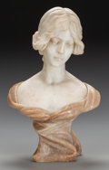 Decorative Arts, Continental:Other , A FRENCH WHITE AND ROUGE MARBLE BUST, circa 1900. 20 x 13-1/2 x 9inches (50.8 x 34.3 x 22.9 cm). From a Dallas Estate. ...
