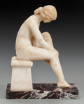 Decorative Arts, Continental:Other , AN ITALIAN MARBLE FIGURE ON BASE, early 20th century. 10 x 7-7/8 x4-3/4 inches (25.4 x 20.0 x 12.1 cm). From a Dallas Est...