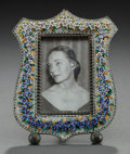 Decorative Arts, Continental:Other , AN ITALIAN GLASS CANEWORK AND COPPER PICTURE FRAME, circa 1900.5-1/4 inches high (13.3 cm). From a Private Houston Estate...
