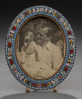 Decorative Arts, Continental:Other , AN ITALIAN GLASS CANEWORK AND COPPER PICTURE FRAME, circa 1900.5-3/4 inches high (14.6 cm). From a Private Houston Collec...