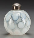 Decorative Arts, British:Other , AN ENGLISH OPALINE GLASS BOTTLE WITH SILVER CAP, circa 1900. Marks:925 (to cap and neck band). 4 inches high (10.2 cm)...