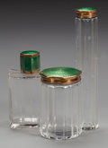 Decorative Arts, Continental:Other , A THREE PIECE GERMAN GLASS AND GUILLOCHE ENAMEL VANITY SET, circa1920. Marks: (partially effaced) MADE IN GERMANY. 6-3/...(Total: 3 Items)