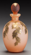 Art Glass:Other , AN AMERICAN PEACH OVERLAY PERFUME BOTTLE WITH STOPPER, circa 1900.8 inches high (20.3 cm) (including stopper). ...