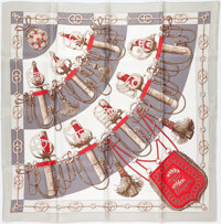"Hermes 90cm Red & Gray ""Cliquetis,"" by Julia Abadie Silk Scarf"