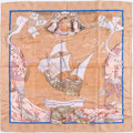 "Luxury Accessories:Accessories, Hermes 90cm Pink & Blue ""Christophe Colomb Decouvrel'Amerique,"" by Carl de Parcevaux Silk Scarf. ..."