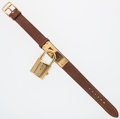 Luxury Accessories:Accessories, Hermes Gold Kelly Watch with Gold Courchevel Leather Strap. ...