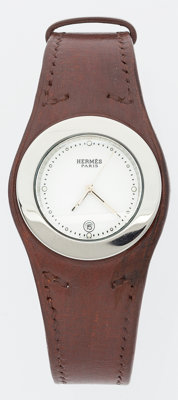 Hermes Natural Bridle Leather Harnais Watch with Palladium Hardware