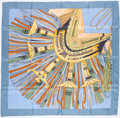 "Luxury Accessories:Accessories, Hermes 90cm Blue & Green ""Cuirs du Desert,"" by Françoise de la Perriere Silk Scarf. ..."