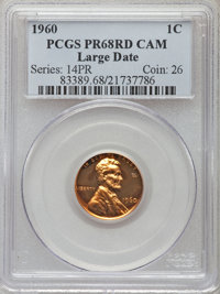 1960 1C Large Date PR68 Red Cameo PCGS. PCGS Population (64/17). NGC Census: (68/52). Numismedia Wsl. Price for problem...