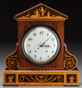 Decorative Arts, Continental:Other , A CONTINENTAL WOOD TEMPLE-FORM MANTLE CLOCK, 19th century. Marks:Dec 31, 1813, N. Hummdagard (etched to front bottom ed...