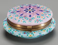 Art Glass:Other , A FRENCH OPALINE GLASS AND ENAMELED LIDDED BOX, 19th century. 2inches high x 4-1/4 inches diameter (5.1 x 10.8 cm). ...