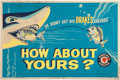 """Automobilia, PONTIAC """"HOW ABOUT YOURS"""" BRAKES SERVICE POSTER. 1957. 25-1/4 x 38inches (64.1 x 96.5 cm). ..."""