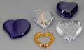 Art Glass:Other , FIVE CONTINENTAL GLASS AND CERAMIC HEART SHAPED TABLE ARTICLES,20th century. Marks: Baccarat (to clear and amber), Ti...(Total: 5 Items)