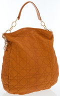 Luxury Accessories:Bags, Christian Dior Orange Quilted Cannage Leather Lady Dior Hobo Bag....
