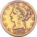 Liberty Half Eagles, 1858-C $5 XF40 PCGS. CAC. Variety 1....