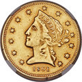 Territorial Gold, 1861 $5 Clark, Gruber & Co. Five Dollar, K-6, R.4 -- Damaged, Cleaned -- NGC Details. AU....