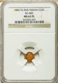 California Fractional Gold: , 1880/76 25C Indian Round 25 Cents, BG-885, R.3, MS63 Prooflike NGC.NGC Census: (7/14). ...