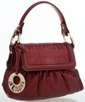 Luxury Accessories:Bags, Fendi Metallic Burgundy Leather Top Handle Bag . ...