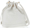 Luxury Accessories:Bags, Gucci White Ostrich Bucket Bag with Gold Hardware . ...