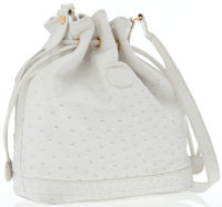 Gucci White Ostrich Bucket Bag with Gold Hardware