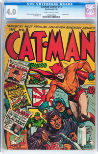 Catman Comics #13 (Holyoke/Continental, 1942) CGC VG 4.0 Slightly brittle pages