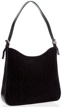 Celine Black Monogram Suede & Leather Shoulder Bag