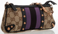 Luxury Accessories:Bags, Gucci Classic Monogram Canvas & Purple Web Stripe Clutch Bag ....