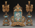 Decorative Arts, Continental:Other , A THREE PIECE FRENCH SEVRES-STYLE PORCELAIN AND GILT METALGARNITURE SET, circa 1890. Marks to works: 981. 16 incheshig... (Total: 3 Items)