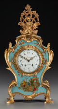 Decorative Arts, Continental:Other , A FRENCH LOUIS XV-STYLE JAPANNED AND GILT BRONZE MANTEL CLOCK,circa 1915. Marks: Bièsta A PARIS (to clock face),5511... (Total: 2 Items)