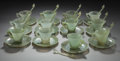 Asian:Chinese, TWELVE CHINESE JADE CUPS AND SAUCERS WITH SPOONS. Marks:CHINA. 2 inches high (5.1 cm) (cup). ... (Total: 36 Items)