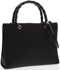 Luxury Accessories:Bags, Gucci Black Monogram Canvas Tote Bag with Bamboo Handles. ...