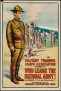 "Movie Posters:War, World War I Propaganda (Triangle, 1917). ""Who Leads the NationalArmy!"" One Sheet (27.25"" X 41"").. ..."