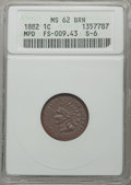 1882 1C Misplaced Date, FS-401, S-6, MS62 Brown ANACS. FS-009.43. NGC Census: (0/0). PCGS Population (0/5). Mintage: 38...