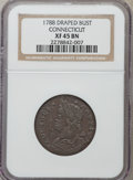 Colonials: , 1788 COPPER Connecticut Copper, Draped Bust Left XF45 NGC. NGC Census: (3/19). PCGS Population (9/7). ...