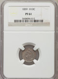 Proof Seated Half Dimes: , 1859 H10C PR61 NGC. NGC Census: (5/202). PCGS Population (7/209).Mintage: 800. Numismedia Wsl. Price for problem free NGC/...