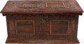 Furniture : Continental, A CONTINENTAL CARVED AND POLYCHROMED TRUNK, 17th century in part.22-1/4 x 49 x 24 inches (56.5 x 124.5 x 61.0 cm). ...